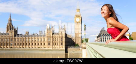 London England travel banner - woman tourist in summer by Big Ben. Happy elegant female model looking at view of River Thames, Westminster Bridge, London, England, Great Britain, UK. - Stock Photo