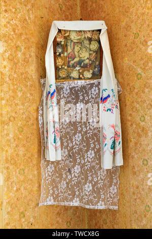 Eastern Europe, Ukraine, Pripyat, Chernobyl. Religious icon on house interior wall. - Stock Photo