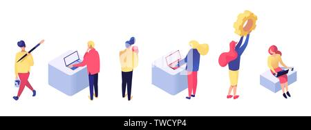 Set of men and women working in different workplaces, building web pages and elaborating software technology isometric vector illustration. Web development concept isolated on white background - Stock Photo