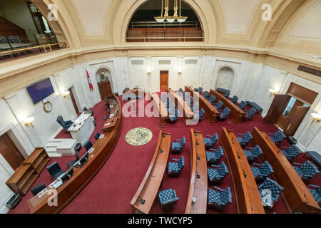 Little Rock, Arkansas - The Senate chamber in the Arkansas state capitol building. - Stock Photo