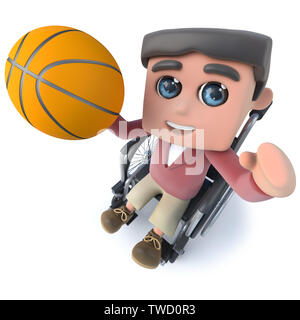 3d render of a funny cartoon teenager in a wheelchair character playing basketball - Stock Photo
