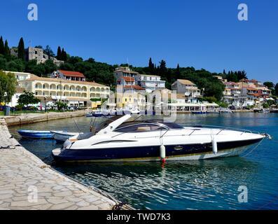 Speed boat,Kassiopi bay,Kassopaia,Ionian Islands, Corfu ,Greece - Stock Photo