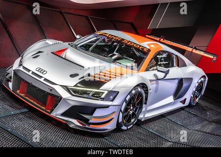 Paris, France, October 02, 2018: New Audi R8 LMS GT3 race car at Mondial Paris Motor Show, produced by German automobile manufacturer Audi AG - Stock Photo
