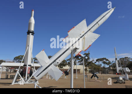 WOOMERA,SA - MAY 15 2019:Woomera Missile Park.Woomera town was home to personnel who worked between 1947-1980 in experimental station to test rockets, - Stock Photo
