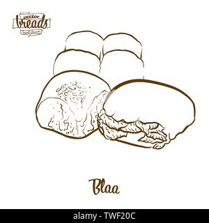 Blaa bread vector drawing. Food sketch of Bun, usually known in Ireland. Bakery illustration series. - Stock Photo