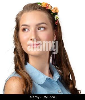 Cheerful Model Woman Long Permed Hair - Stock Photo