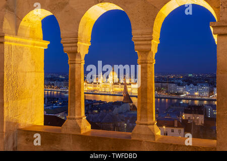 A view of Hungarian Parliament in Budapest from Fisherman's Bastion. - Stock Photo