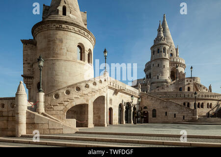 Morning at Fisherman's Bastion in the Castle District of Budapest. - Stock Photo