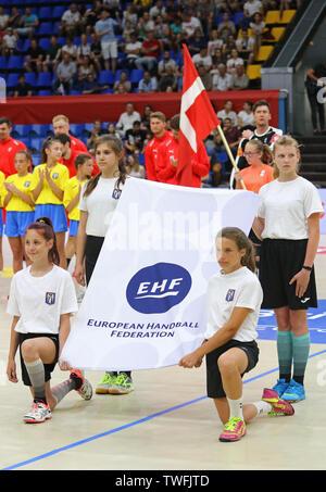 KYIV, UKRAINE - JUNE 12, 2019: Starting ceremony of the EHF EURO 2020 Qualifiers handball game Ukraine v Denmark at Palace of Sports in Kyiv - Stock Photo