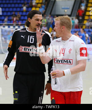 KYIV, UKRAINE - JUNE 12, 2019:Handball players Jannick GREEN KREJBERG and Anders ZACHARIASSEN of Denmark during the EHF EURO 2020 Qualifiers handball - Stock Photo