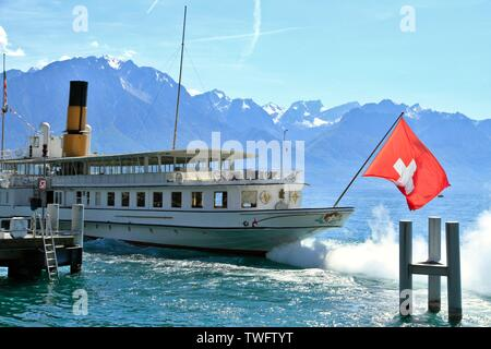 Illustration of the city of Montreux, Swiss municipality of the canton of Vaud, located in the district of the Riviera-Pays-d Enhaut, in the Alps. - Stock Photo