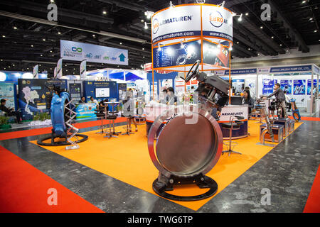 Bangkok, Thailand - June 6, 2019: Large butterfly valve handwheel operated display in Pumps and Valves Asia 2019 - Stock Photo