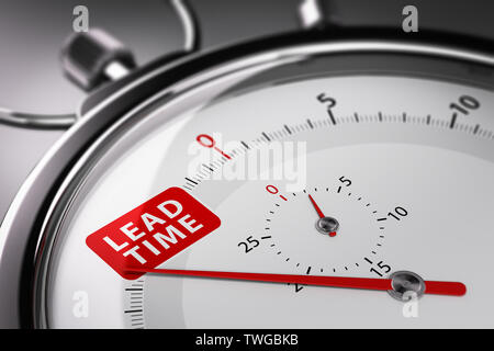 Lead time written on a conceptual stopwatch. Supply Chain Management Concept. 3D illustration. - Stock Photo