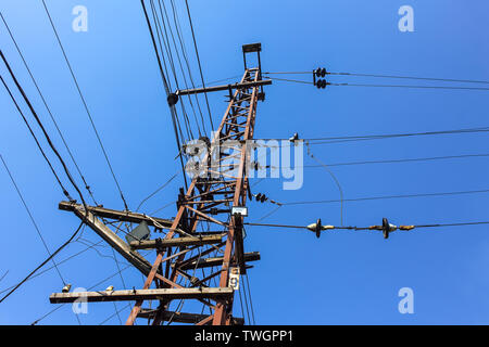 Electric tower with antennas on the railway tracks - Stock Photo
