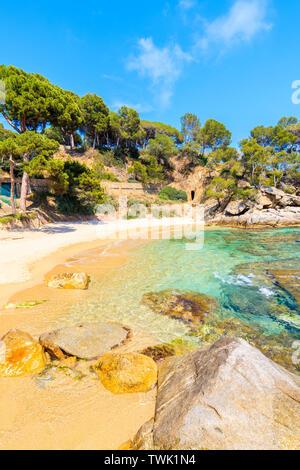 Idyllic sandy Cala Pi beach near Cap Roig, Costa Brava, Spain - Stock Photo