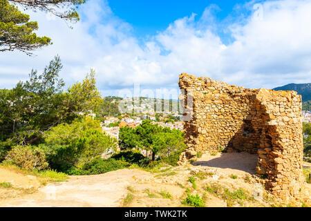 Castle tower ruins in Tossa de Mar town, Costa Brava, Spain - Stock Photo