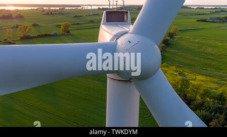 Close-up of wind turbine from the front. - Stock Photo