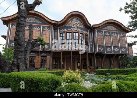 Plovdiv, Bulgaria - May 6, 2019:  Typical architecture,historical medieval houses. The Ethnographic Museum of Plovdiv. Ancient Plovdiv is UNESCO's Wor - Stock Photo