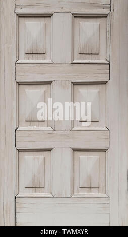 Close-up of part of an old and rustic wooden door painted in white. High resolution full frame background. Copy space. - Stock Photo