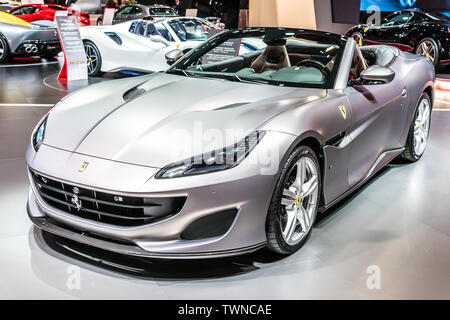 Paris, France, October 2018 silver Ferrari Portofino at Mondial Paris Motor Show, Type F164 sports car produced by the Italian manufacturer Ferrari - Stock Photo