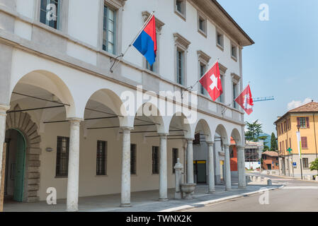 Historic center of Riva San Vitale with the town hall, Switzerland - Stock Photo