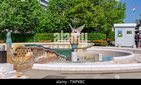 View the millenium fountain in Debrecen, Hungary, - Stock Photo