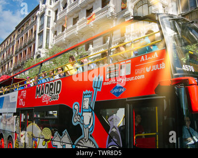 Madrid, Spain - May 2019: Double decker touristic bus in downtown - Stock Photo