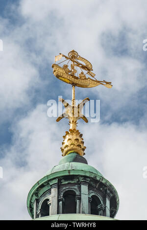 Amsterdam Royal Palace weather vane - the Amsterdam Royal Palace dome features a cog ship weather vane on top of the domed cupola - Stock Photo