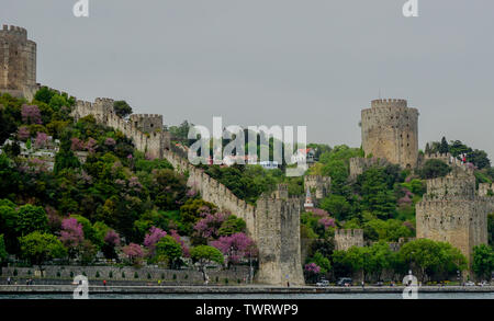 Istanbul, Istanbul Province / Turkey: 19 April, 2016: the Rumeli Hisari fortress on the Strait of Istanbul in the springtime - Stock Photo