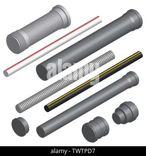 Set of various plastic pipes for sewage, water pipe and connecting flanges isolated on a white background. 3D isometric style, vector illustration. - Stock Photo