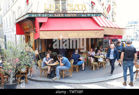 Lux is traditional french wine bar , Paris, France. - Stock Photo