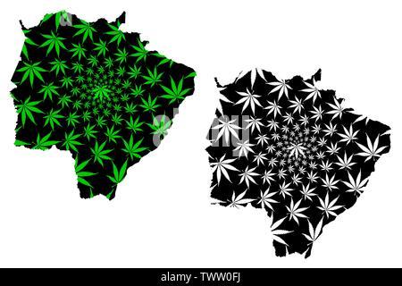Mato Grosso do Sul (Brazil, Federated state, Federative Republic of Brazil) map is designed cannabis leaf green and black, Mato Grosso do Sul map made - Stock Photo