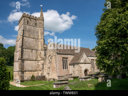 The Church of St. Mary The Virgin in Hawkesbury, South Gloucestershire, United Kingdom. A Grade I listed building built in the 12th Century with later - Stock Photo