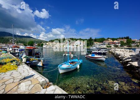 Fishing boats,leisure craft,Leisure boats,Kassiopi bay,Kassopaia,Ionian Islands, Corfu ,Greece - Stock Photo