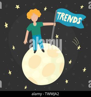 Searching trends concept with a man standing on the moon with a flag. Vector illustration - Stock Photo