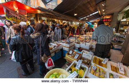 Tokyo, Japan - November 25, 2012 : The Shibuya fish market is the biggest fish market in Japan and can be visited early, very early in the morning. On - Stock Photo