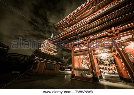 Tokyo, Japan - November 25, 2012 : Senso ji is one of the most visited religious sight, situated in Asakusa and because it is crowded during the day e - Stock Photo
