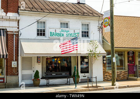 Jerrys Barber Stylist, 10 East Baltimore Street, Greencastle, Pennsylvania - Stock Photo
