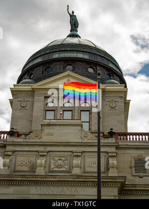 Governor Steve Bullock, a democrat, approved the flying of the rainbow pride flag over the state Capitol during the Big Sky Pride event, June 2019. - Stock Photo