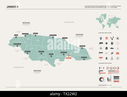 Vector map of Jamaica. Country map with division, cities and capital Kingston. Political map,  world map, infographic elements. - Stock Photo