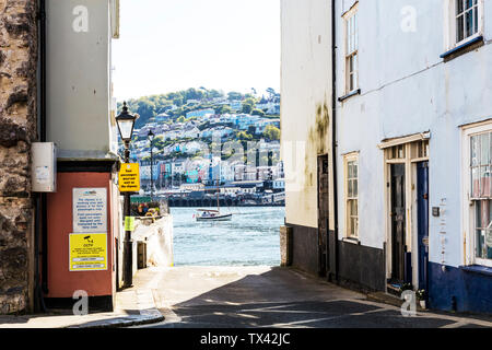 Dartmouth ferry slipway, Dartmouth town Devon UK, Dartmouth, Devon, UK, England, Dartmouth ferry entrance, Dartmouth ferry signs, Dartmouth Devon - Stock Photo
