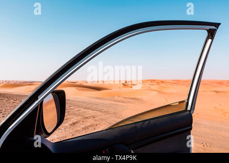 Sultanate Of Oman, Wahiba Sands, View of the desert from a car - Stock Photo