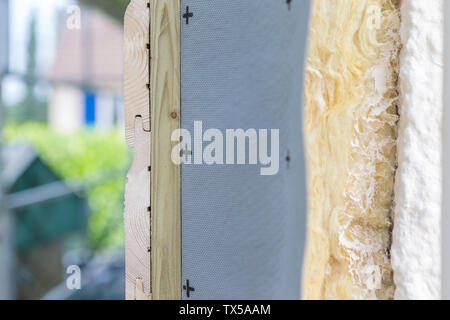 Side view house and insulation detail. Building insulation exterior, added to buildings for comfort and energy efficiency - Stock Photo