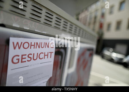 24 June 2019, North Rhine-Westphalia, Cologne: With a piece of paper on the wall of a house, people are looking for an apartment in Südstadt. Photo: Oliver Berg/dpa - Stock Photo