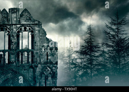 Ruins of an Old Castle in foggy Forest in UK - Stock Photo