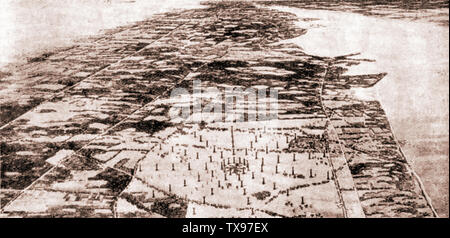 History of wireless and radio communication - An artist's impression of the proposed New York wireless station (1921 illustration)- - Stock Photo