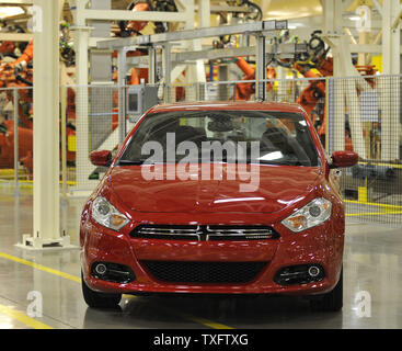 A fully assembled Dodge Dart sits on the floor at Chrysler's Belvidere Assembly Plant on February 2, 2012 in Belvidere, Illinois. Chrysler recently completed a new body shop to build the Dodge Dart in the plant.     UPI/Brian Kersey - Stock Photo
