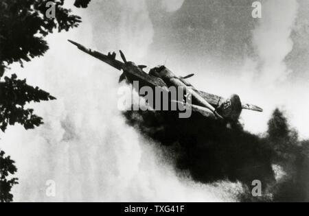 Medium German twin-engine bomber Heinkel He 111 shot down by the Soviet army in 1941. - Stock Photo
