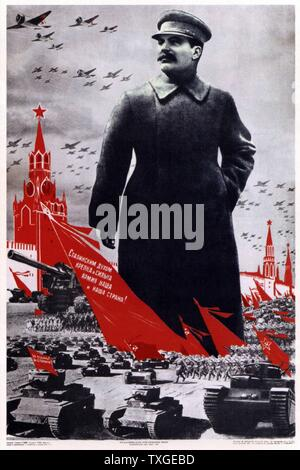 World war two; soviet Russian, patriotic poster depicting Stalin as the leader of the military - Stock Photo