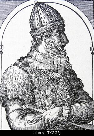 Engraving depicting Ivan III 'The Terrible' (1530-1584) the Grand Prince of Moscow from 1533 to 1547 and Tsar of All the Russias from 1547 until his death. Dated 16th Century - Stock Photo